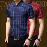 Wholesale Fashion Short sleeve Plaid Mens Slim Fit M XL Cotton Dress Shirts Male Clothes Social Casual Shirt Men Brand