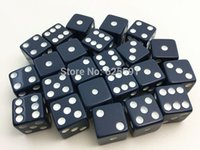 Wholesale set T amp G High Quality mm Navy Blue Square corners Dice Set with White Dots dungeon and dragon juegos de mesa Novelty