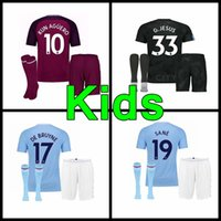 17 18 man City soccer Jerseys 2017 2018 Man City kids kit DZEKO KUN AGUERO  KOMPANY TOURE YAYA DE BRUYNE Home Shirt 02d944b7c
