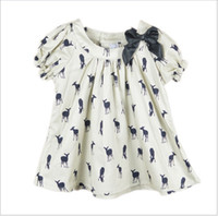 Wholesale 2016 Summer New Girls Deer Fawn Pattern Shirt Baby Girl Short Sleeve Blouse Tops Kids Clothing Cute Girls Bowknot T shirt Fashion Girl Dress