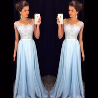 Wholesale Chiffon Dresses For Dinner - elegant cheap long evening dresses 2016 fashion appliques lace light blue chiffon women formal dinner dress for party