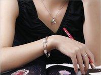 Wholesale Bracelets sterling silver rose flower cuff bracelet fashion bangle for women jewelry bangles and high end charm bracelet