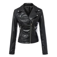 Wholesale 2016 Hot style women s leather jacket Zipper leather Pu leather jacket autumn winter leather brief paragraph