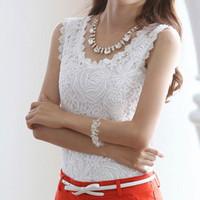 Cheap blusa de renda blusas de verao womens tops fashion Nice white lace blouse plus size woman clothes sleeveless black women blouses