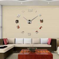Wholesale Creative D wall clock Large size EVA acrylic mirror wall clock DIY fashion personality decoration clock