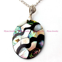 Wholesale China Variety Of Design Charm Oval Natural Abalone Shell Splicing Pendant Accessories Silver Plated European Trendy Jewelry