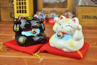 Wholesale 2x Lucky Mini Cat Piggy Bank Signify Budget Saving Money Coin Box Ceramic Sets