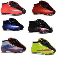 Wholesale 2016 Kids High Ankle soccer cleats Cheap Children Boys CR7 Superfly FG Football Boots Hot Sale Men women Outdoor Soccer shoes size