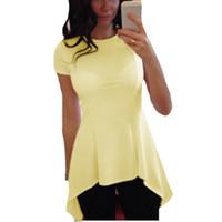 Wholesale Fashion dress shirt irregular hem short sleeved o neck peplum sexy slim waist coat casual loose white shirt blusas