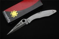 Wholesale Spyderco C07S spyderco police outdoor folding knife cr18mov blade Handle material stainless steel outdoor camping hand tools EDC