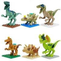 achat en gros de dinosaur toy-2016 Nouveaux 6pcs / set mondial Jurassic Dinosaur série de mini chiffres Building Blocks Sets Education enfants Jouets figurine Bricks SL8916