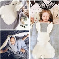 Wholesale 016 New Creative cm size Plaid rabbit ears children s cotton knitted blanket throw beddingsofa air mantas blanket Manta Super Soft