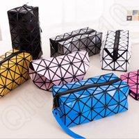 Wholesale 7 Colors Square Women Toiletry Makeup Bag Pouch Handbag Storage Organizer Makeup Case New in Package Lattice design LJJJ32
