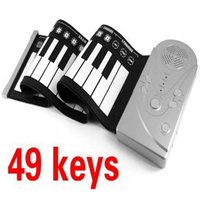 achat en gros de 49 key hand rolled piano-Portable 49 Keys Roll Up Piano électronique Flexible Foldable Keyboard Soft Hand Music Organ Livraison gratuite