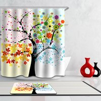 Wholesale Fashionable Colorful Season Shower Curtain Extra Long Bath Decorations Bathroom Decor Sets with Plastic Hooks Art Print Polyester Fabric