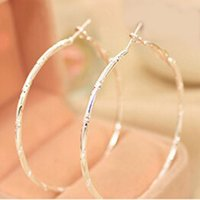 Wholesale Hot selling Fashion Upscale Exquisite Silver Golden Plated Engraving Round Loop Big Circle Hoop Earrings for Women Girls Jewelry
