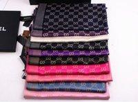 al por mayor pashmina scarf-2016 Las mujeres de moda de seda de la letra de algodón de bufandas largas envuelve el mantón Pashmina bufanda clásica