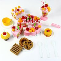 Wholesale 75pcs Birthday Cake DIY Model Children Kids Early Educational Classic Toy Pretend Play Kitchen Food Plastic Toy