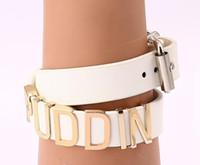 Wholesale White Suicide Squad Bracelets Bangles For Fans Jewelry Harley Quinn PU Punk Bracelet cm Can be necklace Collar cc742