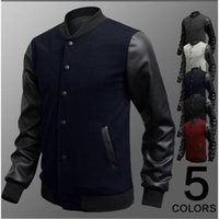 Wholesale Winter Coat Men Leather Patchwork Slim Casual Men Baseball Jackets Coats Long Sleeve Button Baseball Jacket Korean Solid PWY13