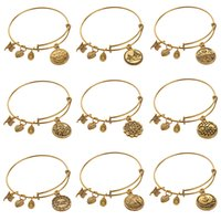 american steel wire - Alex And Ani bangles adjustable Charm statement bracelets gold silver Wiring expandable pendant bangles band cuffs bangles