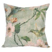 Wholesale Durable Green Cotton Linen Throw Pillow Cushion Covers Natural Floral Birds Square Home Decorative Pillow Case