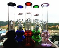 Wholesale 2016 Straight Bong Hot Sell quot Bongs Triple Perculator Tube Glass Bong mm thickness Hitman Arm Tree Double Recycler Glass Water Pipe