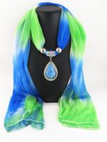 Wholesale 2016 new Xmas scarves Alloy Cross waterdrop Pendant Scarves sapphire Scarves Necklace silk Scarfs shade Pendant scarves cm