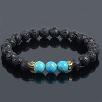 alloy stone products - New Products turquoise Lava Stone Beads Natural Stone Bracelet for Men Jewelry of Stretch Yoga Bracelet