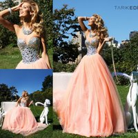 peach bridesmaid dresses - 2016 Tarik Ediz Peach Color Sweetheart Crystal And Beads Long Tulle Prom Dress Women WH422