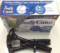 Wholesale 2016 Trusty Cane Trekking Poles LED Light Foldable Triple Head Pivot Base Hurry Secure with Package Box