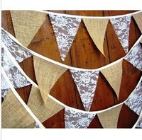 barn party - packs Calico burlap lace wedding bunting home decor Venue Decor rustic any occasion country barn dances cm