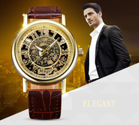 Wholesale watch man women cool design hollow out dial pu leather wristwatch gift hot sale