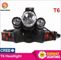 Wholesale T6 main light headlight headlamp outdoor rechargeable sport riding CREE T6 lights with X mah battery and charger