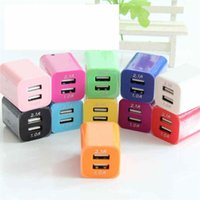 Wholesale Dual usb port wall charger ac power adapter home travel double color V A US plug charging phone