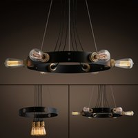 Wholesale Retro Style Chandelier Lights Metal Black Edison Bulbs included Chandeiliers for Living Room Dinning Room