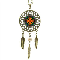 american dream catcher - 2016 Trendy Bohemian Style Silver white Dream Catcher Necklace Glass Mandala Necklace Wings Shaped Pendant Women s Accessories DC