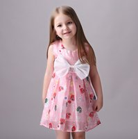 american goldfish - European American Style Print Goldfish Cartoon Dress Bow Dress Summer Clothes Baby Kids Girl Casual Dress Pink Y to Y