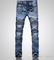 Wholesale 2016 hot selling Balmain stylish jeans Low waist jeans washed with high quality Famous designer jeans