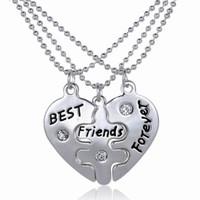 Women's Gift Alloy 1pcs Best Friend Pendant Necklace Statement Necklace Forever Best Friends Friendship Heart Necklace Collier Femme Collares 30