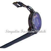 big glass door - Blue Glass Big Dial Black Leather Quartz Men Watches Fashion amp Casual Watch Sports Out Door Military Wristwatch relojio