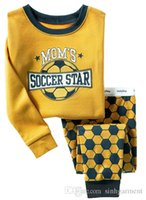 baby soccer clothing - 6 sets baby boys pajamas suit children MOM S SOCCER STAR pyjamas kids clothing
