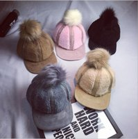 Wholesale Cute Warm Women Trappers Hats - 2016 Autumn and Winter cute big hair ball Trapper Hats Men and Women warm stitching flying Cap ski warm