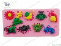 bee decorating - Insects Shape Silicone Mold Cake Tool Fondant Cake Decorating Clay DIY Tool Small Animals Group Spider Frog Snail Locust Bee