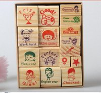 Wholesale English Teacher Homework Encourage Reviews Clear Stamp Kid Cartoon Wood Stamp Toy Best For scrapbooking With Inkpad