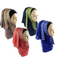 Wholesale pieces muslim scarves with lace border jersey Large oversize maxi scarf Long Hijab scarf JLS106