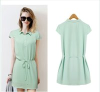 Wholesale New arrival woman Spring Summer shirt collar dresses lady loose clothes skinny fashion shirt chiffon lapel pencil woman one piece