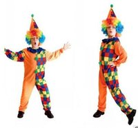 Wholesale 2016 NEW Halloween children funny lattice clown cosplay clothing fashion Masquerade Costumes baby kids Halloween suit