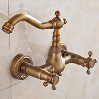 antique copper bathtub - European aristocratic luxury all copper antique European retro faucet full copper bathtub faucet Wall tap can be rotated