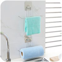 Wholesale 1 set Creative Seamless Free bathroom towel rack Hanging tissue toilet paper holder bathroom kitchen accessories